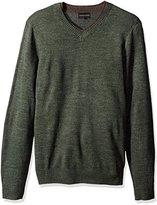 Geoffrey Beene Men's Long Sleeve Double V-Neck Sweater, Hunter Heather