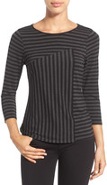 Vince Camuto Sonnet Stripe 3/4 Length Sleeve Tee (Petite)