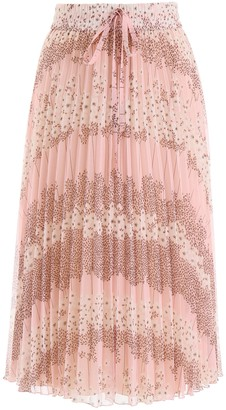 RED Valentino Floral Pleated Midi Skirt