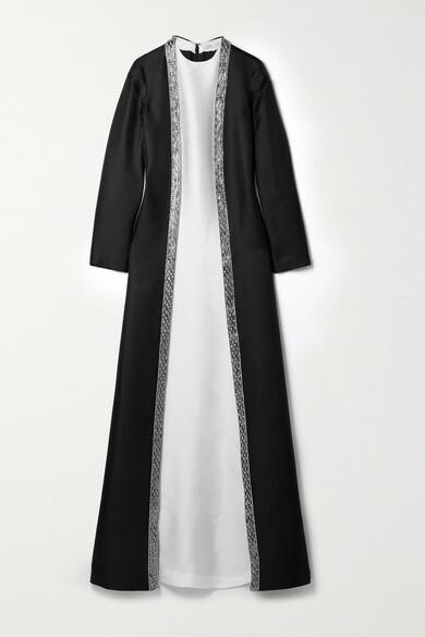 Reem Acra Embellished Layered Mikado-pique Gown - Black