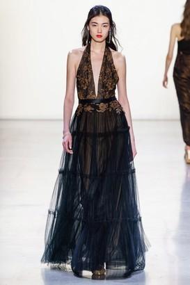 Tadashi Shoji Deep V-Neck Halter Gown