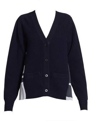 Sacai Pleated Ribbed Wool Cardigan