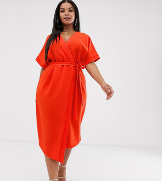 ASOS DESIGN Curve midi wrap dress