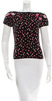 Blumarine Short Sleeve Floral Print Top