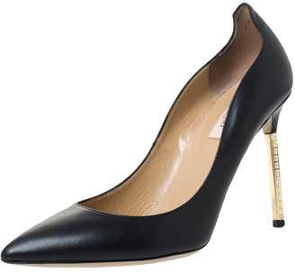 Valentino Black Leather Pointed Toe Pumps Size 39.5