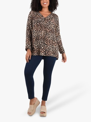 Live Unlimited Curve Animal Print Blouse, Brown/Multi