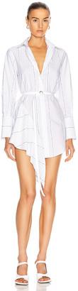 Off-White Popeline Asymmetrical Dress in White | FWRD