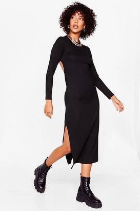 Nasty Gal Womens Long Sleeve Backless Tie Midi Dress - Black - 12