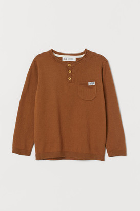 H&M Fine-knit Henley Shirt - Beige