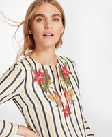 Brooks Brothers Floral-Embroidered Striped Linen Tunic