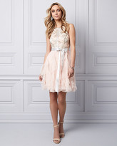Le Château Embroidered Mesh Party Dress