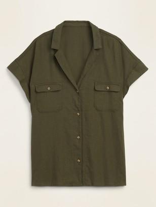 Old Navy Linen-Blend Utility Short-Sleeve Shirt for Women