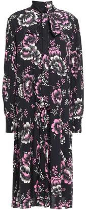 McQ Pussy-bow Floral-print Crepe De Chine Midi Dress