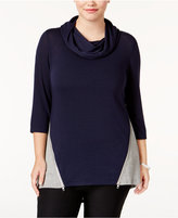 Belldini Plus Size High-Low Colorblocked Top