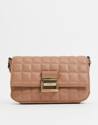 Aldo Oleosa padded chain strap shoulder bag in camel
