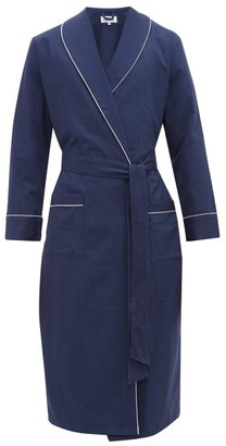 P. Le Moult - Piped Cotton-herringbone Robe - Navy