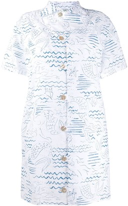 Kenzo Mermaid Print Shirt Dress