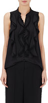 Chloé Women's Pom-Pom-Trimmed Sleeveless Silk Blouse-BLACK