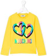 Moschino Kids logo and hearts print T-shirt