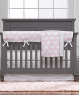 Pink Whales Four-Piece Crib Bedding Set