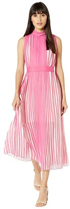 BCBGMAXAZRIA Rainbow Pleated Midi Dress (Ibis Rose/Watercolor) Women's Clothing
