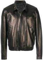 Prada high collared leather jacket