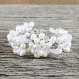 Handcrafted Bridal Quartz and Pearl Bracelet, 'Bridal Bouquet'