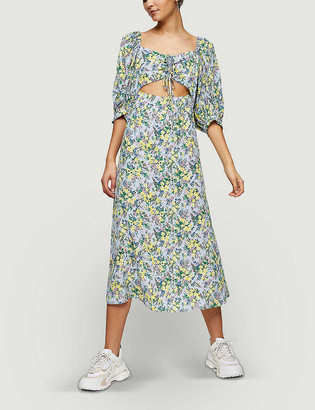 Topshop Floral-print cut-out crepe midi dress