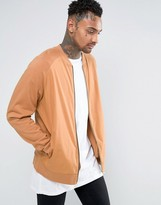 Asos Oversized Jersey Bomber Jacket With Woven Front