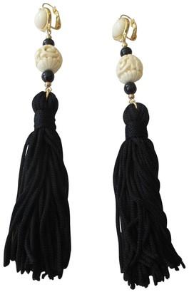 Kenneth Jay Lane Black Tassel Cream Cabochon Long Dangle Drop Earrings