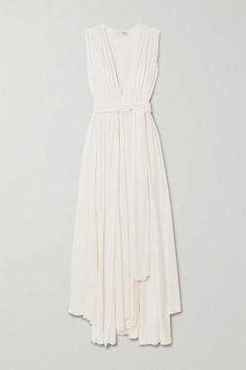 Oscar de la Renta Belted Asymmetric Pleated Cady Gown - Ivory