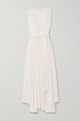 Oscar de la Renta Belted Asymmetric Pleated Cady Gown - Ivory