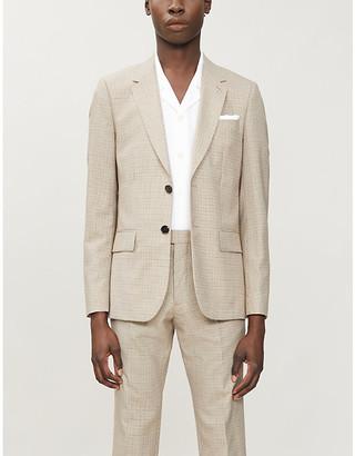 Sandro Havana plaid regular-fit single-breasted wool blazer