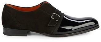 Mezlan Patent Leather Suede Monk Strap Shoes