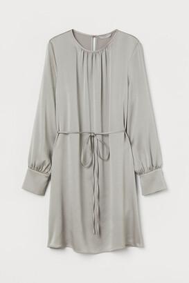 H&M Creped Satin Dress - Brown