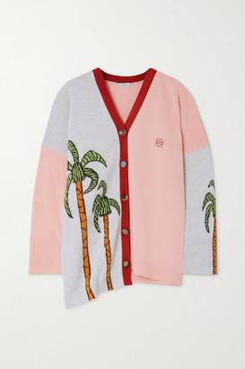 Loewe Ken Price La Palme Asymmetric Intarsia Wool Cardigan - Pink