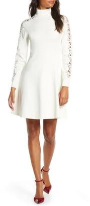 Eliza J Mock Neck Fit & Flare Long Sleeve Sweater Dress
