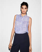 Express sleeveless striped city shirt by