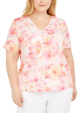 Alfred Dunner Plus Size V-Neck Printed Top