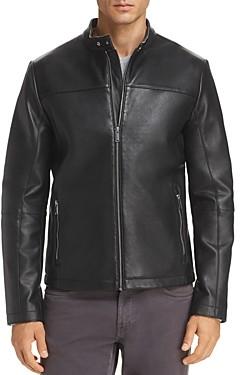 Karl Lagerfeld Paris Bonded Leather Racer Jacket