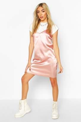 boohoo Satin T-shirt Layered Slip Dress