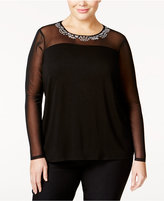 INC International Concepts Plus Size Embellished Illusion-Mesh Top, Only at Macy's
