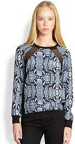 Patterson J. Kincaid PJK Silk Python-Print Sheer-Paneled Sweatshirt