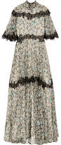 Valentino Open-back Lace-trimmed Printed Silk-chiffon Gown - Gray