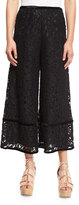 See by Chloe Lace-Trim Velour Culottes, Black