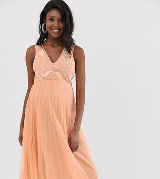 ASOS DESIGN Maternity embroidered top pleated tulle midi dress