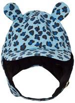 Mini Rodini Blue Leopard Print Trapper Hat with Ears