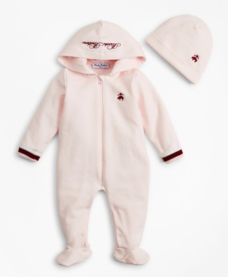 Brooks Brothers Girls Hooded Footie & Hat Set - 6 Months