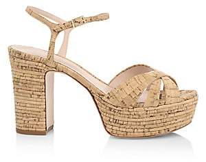 Schutz Women's Darilia Ribbed Cork Platform Sandals
