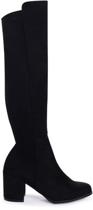 Linzi MANDY - Black Suede Block Heeled Knee High Boot